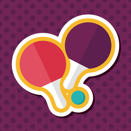 table tennis racket flat icon with long shadow,eps10 向量圖像