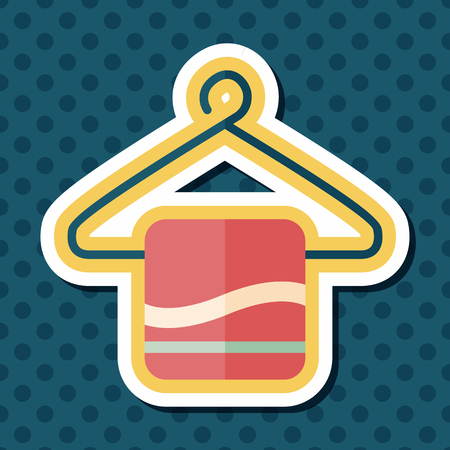 clothing rack: towel hanger flat icon with long shadow,eps10 Illustration