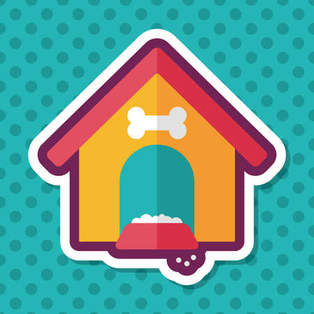 cottage fence: Pet dog house flat icon with long shadow,eps10