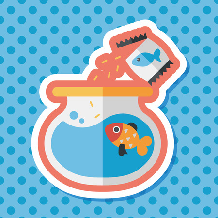 pet fish: Pet fish flat icon with long shadow,eps10 Vettoriali