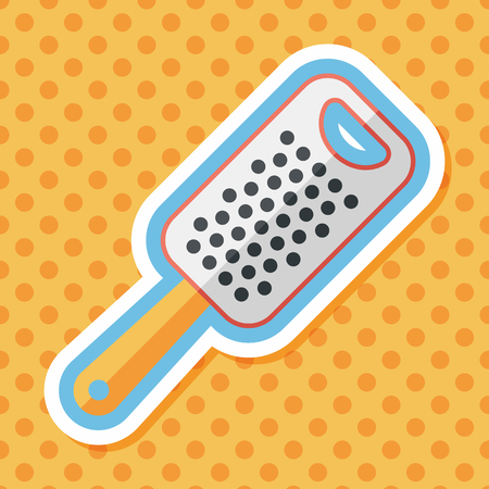 grater: kitchenware grater flat icon with long shadow,eps10 Illustration