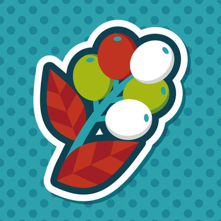 coffee berry: coffee fruit flat icon with long shadow,eps10