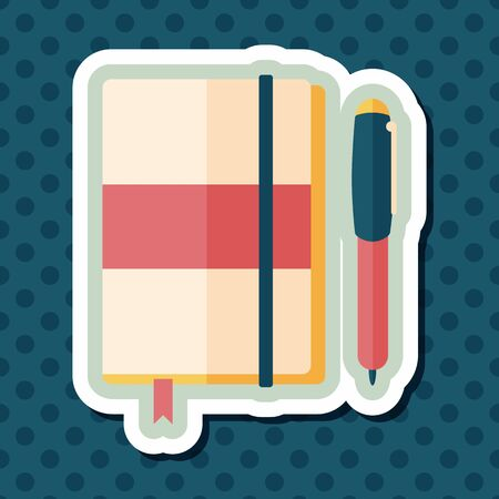 notebook: notebook flat icon with long shadow,eps10 Illustration