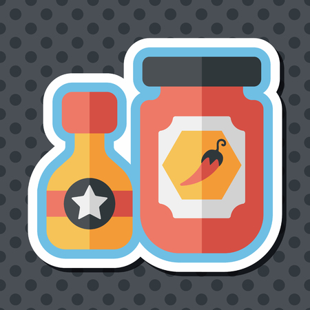 hot sauce: kitchenware hot sauce flat icon with long shadow,eps10