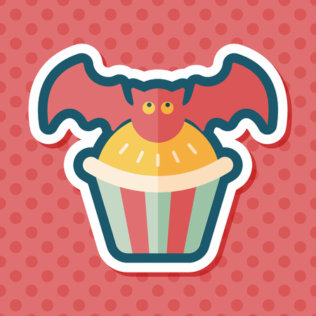 homemaking: Halloween cupcakes with bat flat icon with long shadow,eps10