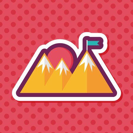 Mountain tourist flat icon with long shadow,eps10