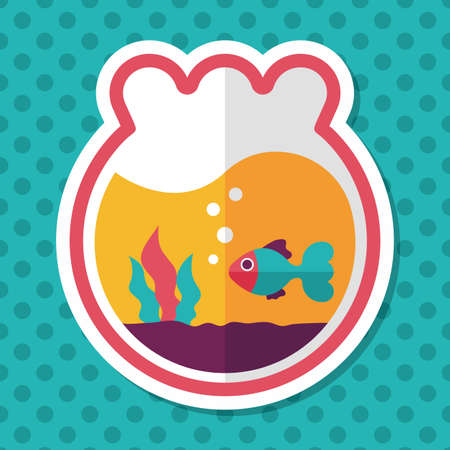 goldenfish: Pet goldfish bowl flat icon with long shadow,eps10