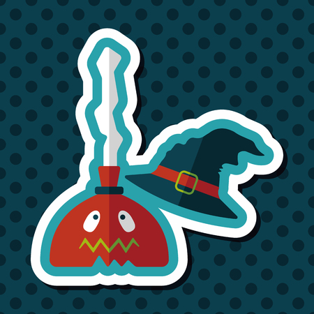 broom handle: Witch broom flat icon with long shadow,eps10