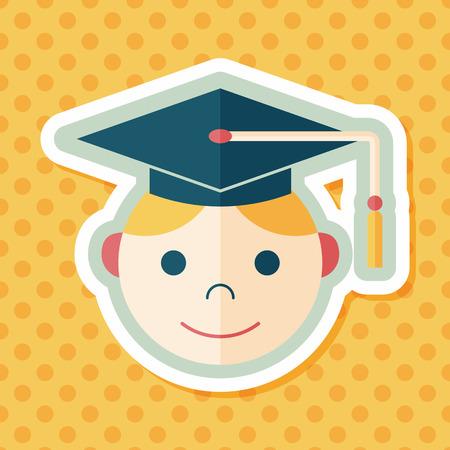 master degree: Graduation Man flat icon with long shadow,eps10