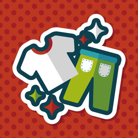 shopping clothes flat icon with long shadow,eps10 Illustration