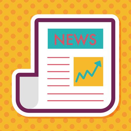 newspaper headline: financial news flat icon with long shadow,eps10