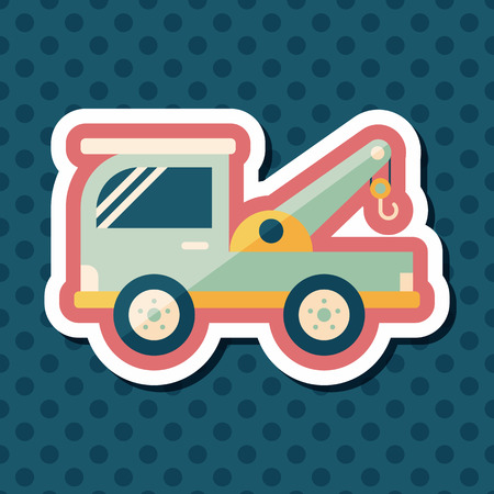wrecker: Transportation Tow Truck flat icon with long shadow,eps10 Illustration