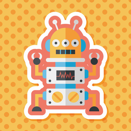 android robot: robot concept flat icon with long shadow,eps10