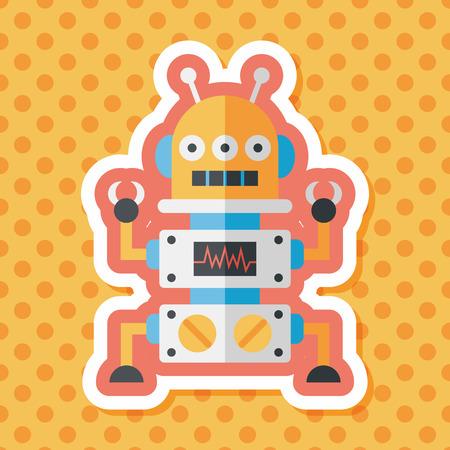robot: Robot koncepcja płaskim ikona z długim cieniem, eps10
