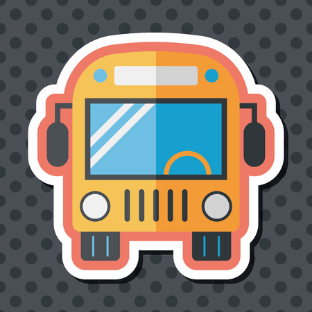 schoolbus: Transportation bus flat icon with long shadow,eps10