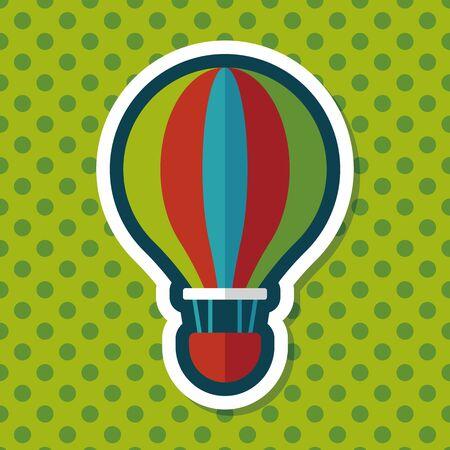 ballon: Transportation hot air ballon flat icon with long shadow,eps10