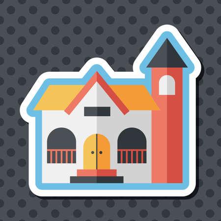콘도: Building flat icon with long shadow,eps10
