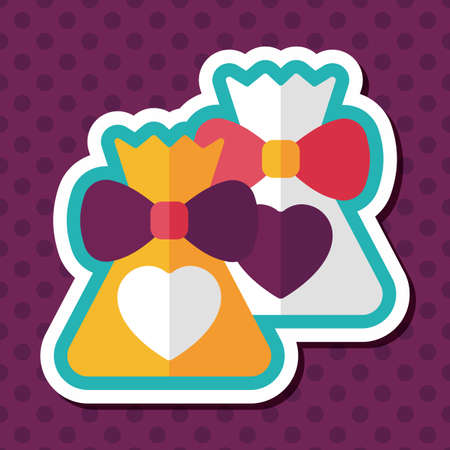 wedding gift: wedding gift flat icon with long shadow,eps10