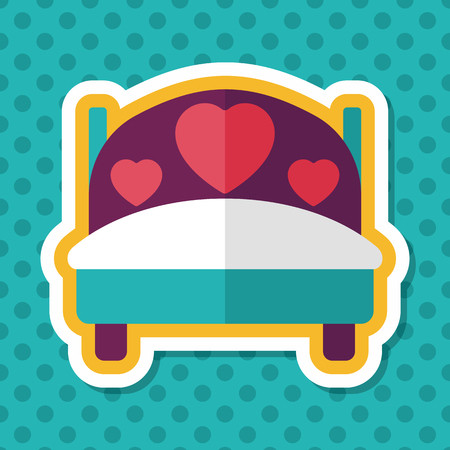 lying in bed: wedding couple bed flat icon with long shadow,eps10