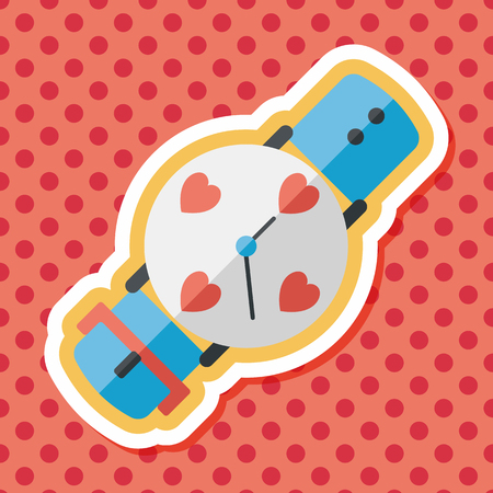 wrists: Valentines Day couple watch flat icon with long shadow,eps10 Illustration