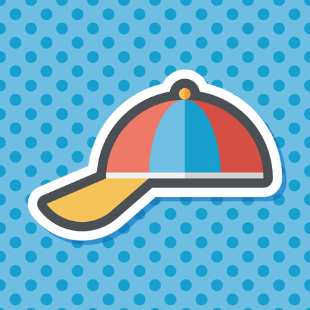 peaked: Peaked cap flat icon with long shadow,eps10 Illustration