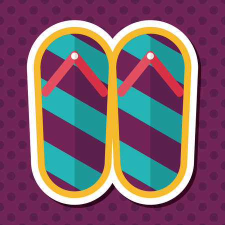 thong: flip flop flat icon with long shadow,eps10