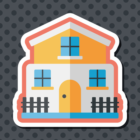residential structure: Building flat icon with long shadow,eps10
