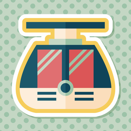 loco: tram flat icon with long shadow,eps10