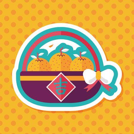 mandarin oranges: Chinese New Year Mandarin Oranges; Chinese words: Ji; Chinese word means lucky. Illustration