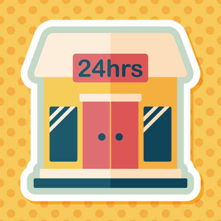 small business: Building convenient store flat icon with long shadow,eps10