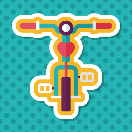 El transporte en bicicleta icono plana con una larga sombra, eps10 Foto de archivo - 47581263