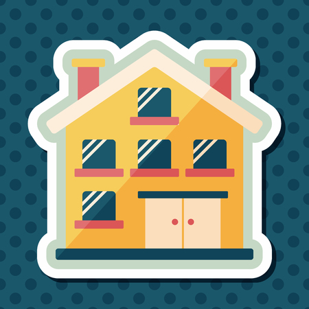 residential structure: Building apartment flat icon with long shadow,eps10 Illustration