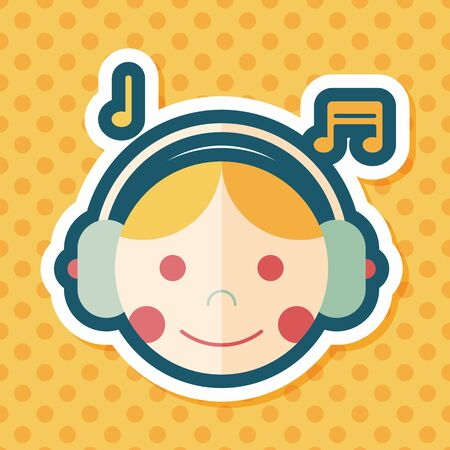 call center agent: Music flat icon with long shadow,eps10