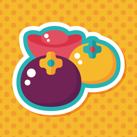 persimmon: Chinese New Year flat icon with long shadow, eps10, Chinese lucky persimmon