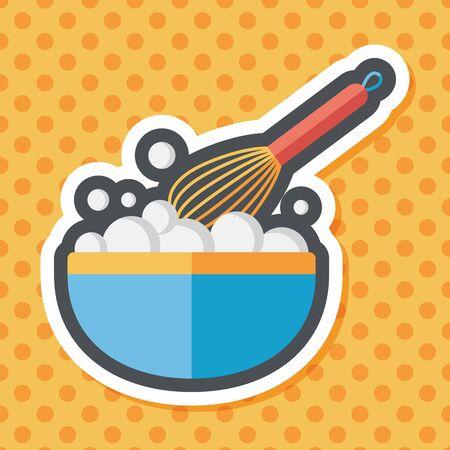 batidora: icono plana batidor de cocina con una larga sombra, eps10