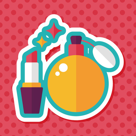 perfumery: shopping perfume and lipsticks flat icon with long shadow,eps10 Illustration