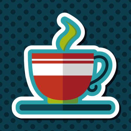 긴 그림자, eps10에 커피 평면 아이콘