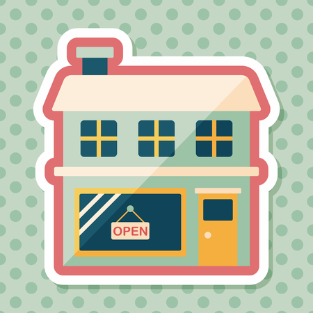 fashion building: Building shop store flat icon with long shadow,eps10