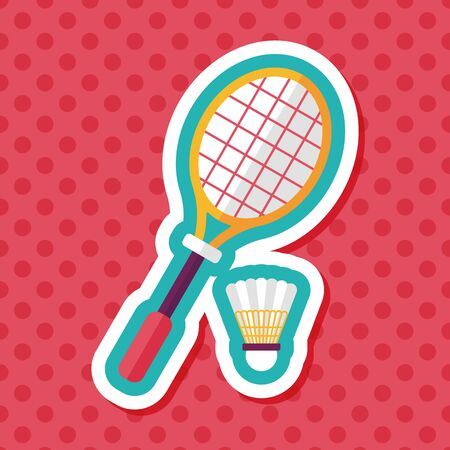badminton racket and ball flat icon with long shadow,eps10 向量圖像