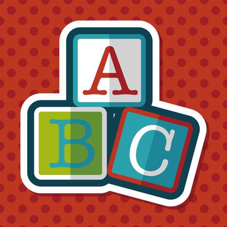 toy blocks: ABC blocks flat icon with long shadow,eps10