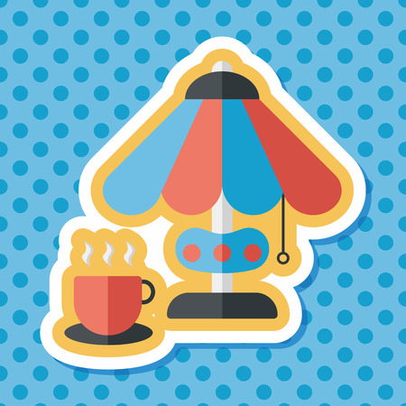 coffee time: coffee time flat icon with long shadow,eps10
