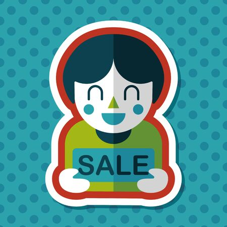 handsome: SALE Shopaholic flat icon with long shadow,eps10 Illustration