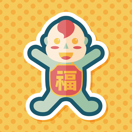 bless: Chinese New Year flat icon with long shadow,eps10, Maitreya doll decoration means Bless you have wealth, monasticism and popularity.