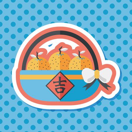 mandarin: Chinese New Year Mandarin Oranges; Chinese words: Ji; Chinese word means lucky. Illustration