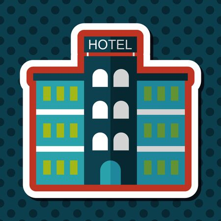 hotel: Hotel flat icon with long shadow,eps10 Illustration