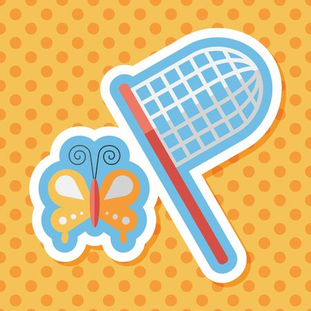 butterfly net: butterfly net flat icon with long shadow,eps10