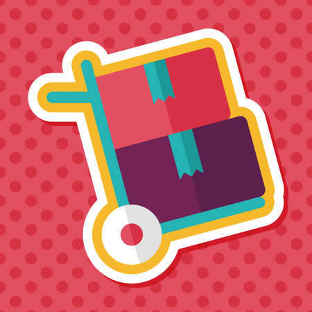 shopping handling trolley flat icon with long shadow,eps10 Illustration