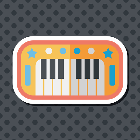 concert grand: piano flat icon with long shadow,eps10 Illustration