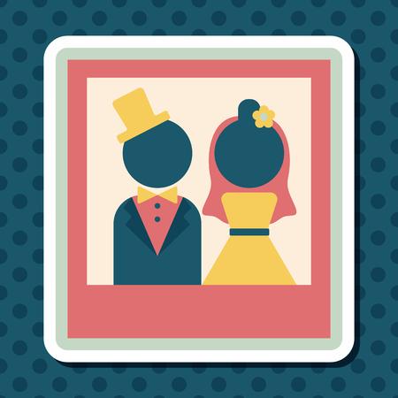 wedding photo album: wedding photo flat icon with long shadow,eps10 Illustration