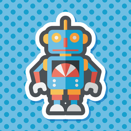 space program: vintage robot flat icon with long shadow,eps 10